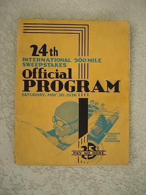 1936 Indy 500 Race Program Very Rare Original Vintage